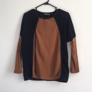 Sweaters - Tan black knit sweater with faux wrap front